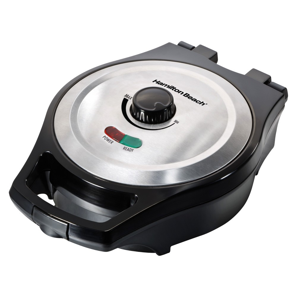 Hamilton Beach Round Mess-Free Belgian Waffle Maker - Black Prepare mess-free, warm and delicious waffles with a Hamilton Beach Belgian Waffle Maker. Expertly designed to reduce spills and make cleanup a breeze, this waffle iron is a quick and easy way to put a little fun back into your boring breakfast routine. The lightweight, compact shape stores easily in any kitchen. Color: Black.