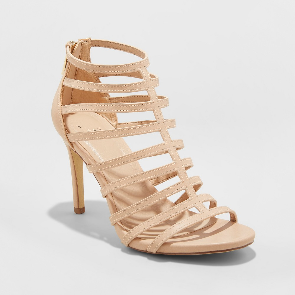 Women's Charlene Caged Heel Pumps - A New Day Tan 7.5