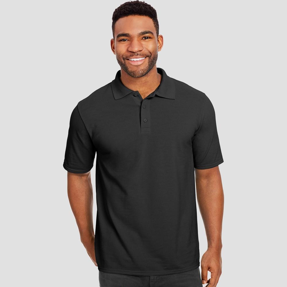Hanes Men's Big & Tall Short Sleeve X-Temp Performance Pique Polo Shirt - Black 3XL