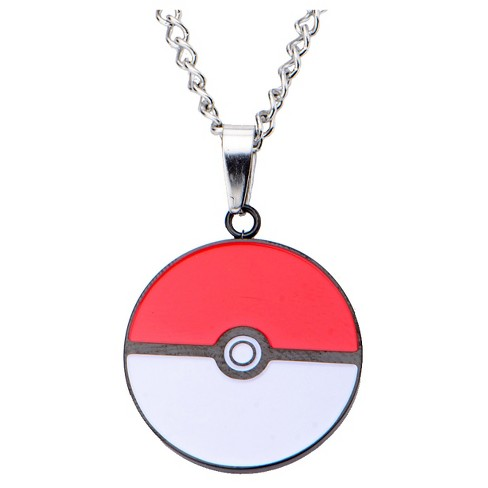 "Women's Pokémon Poké Ball Stainless Steel and Enamel Pendant with Chain (24"") - image 1 of 2"