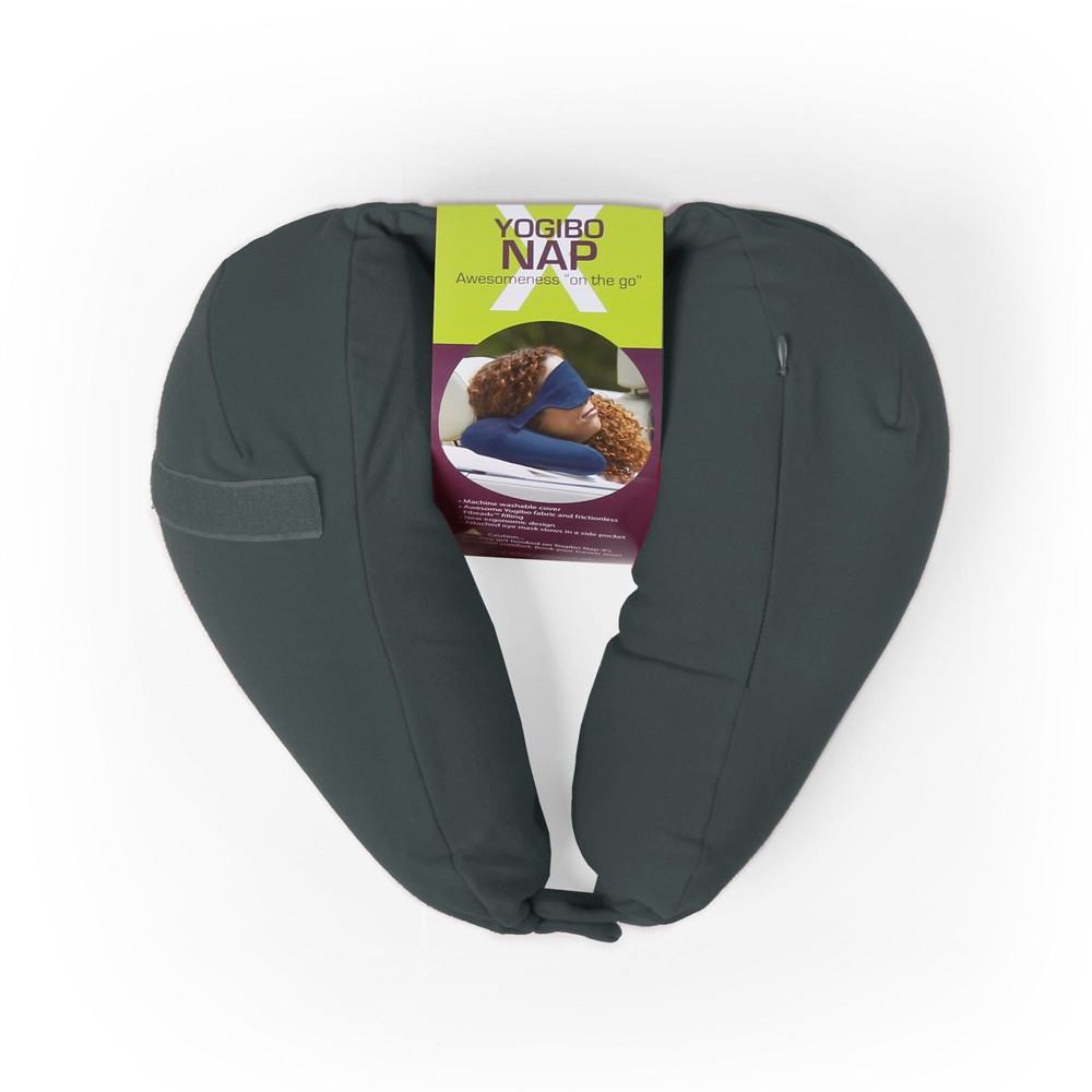 Nap-X Travel Pillow with Built-In Eye Mask - Gray
