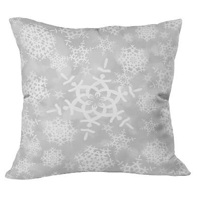 Light Gray Snow Flurries in Gray Throw Pillow (20 x20 )- Deny Designs®