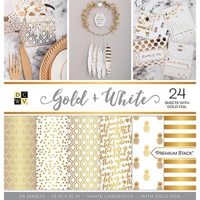 "DCWV Single-Sided Cardstock Stack 12""X12"" 24/Pkg-Gold & White, 12 Des/2 Each, Half W/Foil"