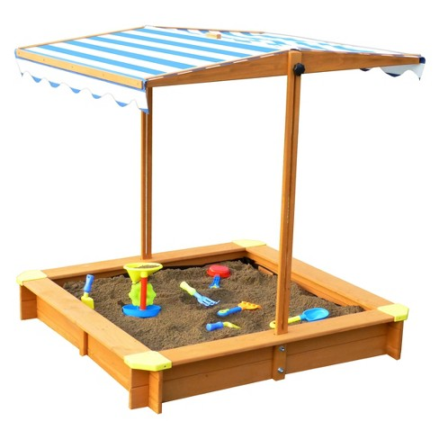 Sandbox With Canopy - Natural and Blue - Merry Products - image 1 of 9