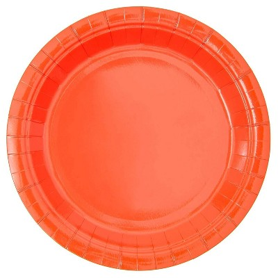 Blue Panda 100 Packs Neon Red Themed Decor Disposable Paper Plates for Birthday Party, 9""