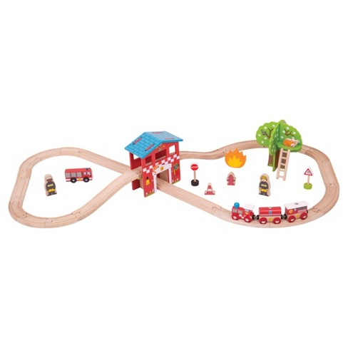 Bigjigs Rail Fire Station Wooden Railway Train Set - image 1 of 2