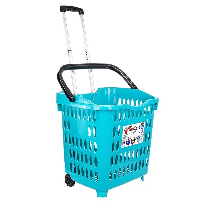 dbest products Bigger GoCart 2 Wheel Waterproof Grocery Cart Shopping Utility Laundry Basket w/ Extendable Handle & 120 Pound Capacity, Teal (5 Pack)