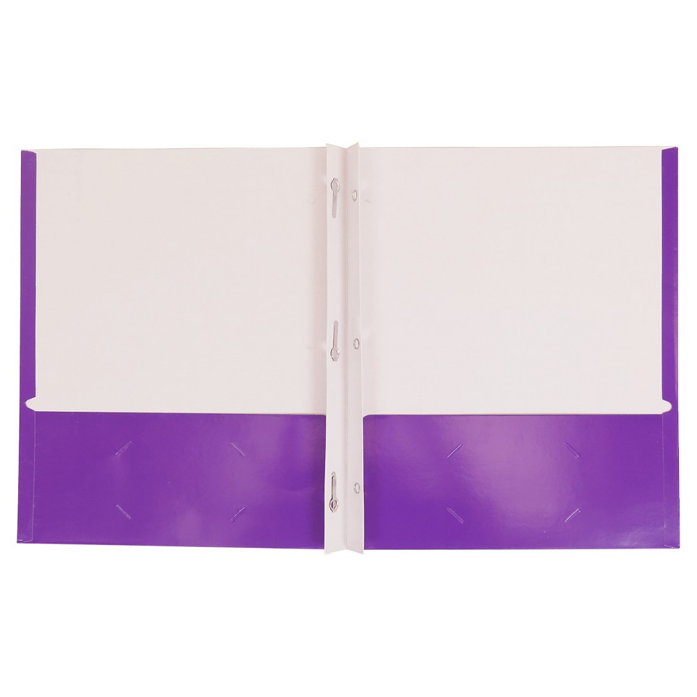 Paper Folder with Prongs 2 Pockets Purple