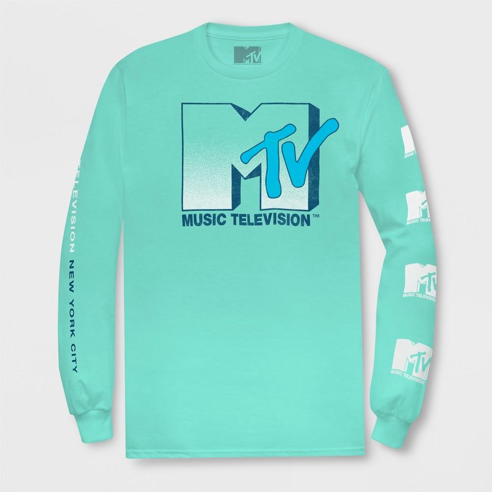 Men's Long Sleeve Mtv Crew T-Shirt - Aqua S, Blue