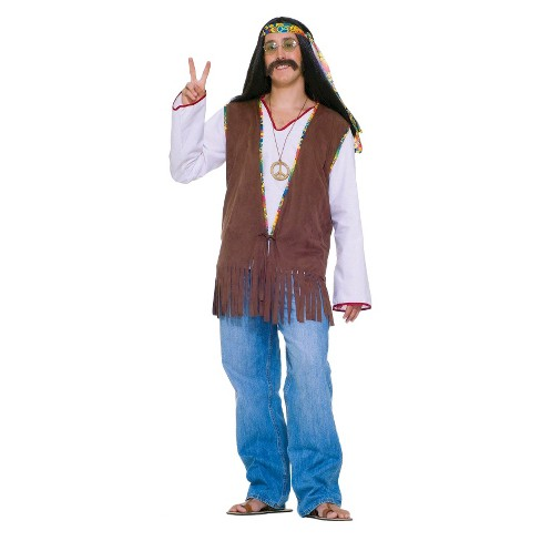 Men's Faux Suede Hippie Vest Costume One Size - image 1 of 1