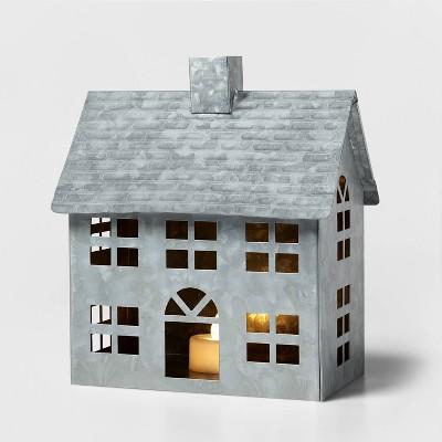 Galvanized House Decorative Figurine Silver - Wondershop™