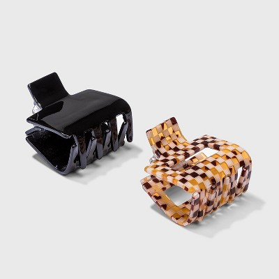 Multi Rectangular Check and Solid Claw Clip Set 2pc - Wild Fable™