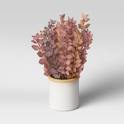 "12.5"" Artificial Leaf Arrangement in Ceramic Pot Purple/Red - Threshold™"