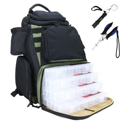 Osage River Ultimate Fishing Backpack, Tackle Box Storage, Night Fishing Light, Waterproof Rain Cover