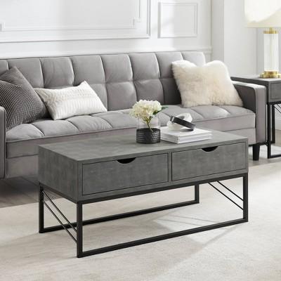 Nikolai Faux Shagreen Modern 2 Drawer Coffee Table - Saracina Home