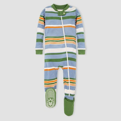 Burt's Bees Baby® Baby Boys' Organic Cotton Striped Footed Pajama - Blue/Green 6-9M
