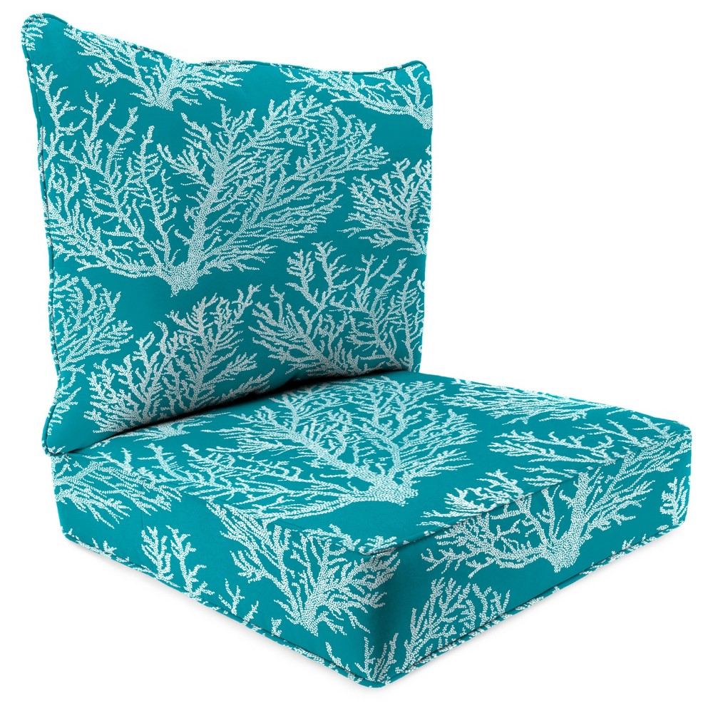 Outdoor Set Of 2PC Deep Seat Chair Cushion In Seacoral Turquoise - Jordan Manufacturing, Washed Turquoise