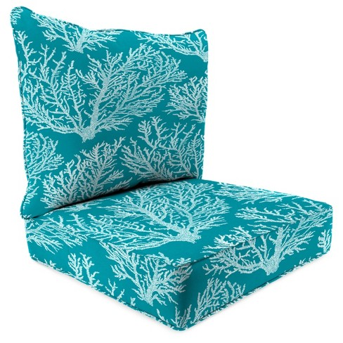 Outdoor Set Of 2PC Deep Seat Chair Cushion In Seacoral Turquoise  - Jordan Manufacturing - image 1 of 1