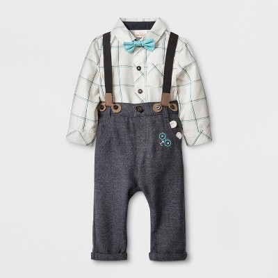 Baby Boys' 4pc. Long Sleeve Collared Button-Down Bodysuit, Twill Pants, Bow Tie and Suspenders - Cat & Jack™ White/Gray 3-6M