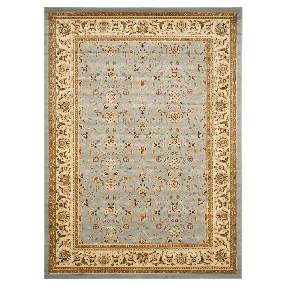 Floral Area Rug Light Blue/Ivory