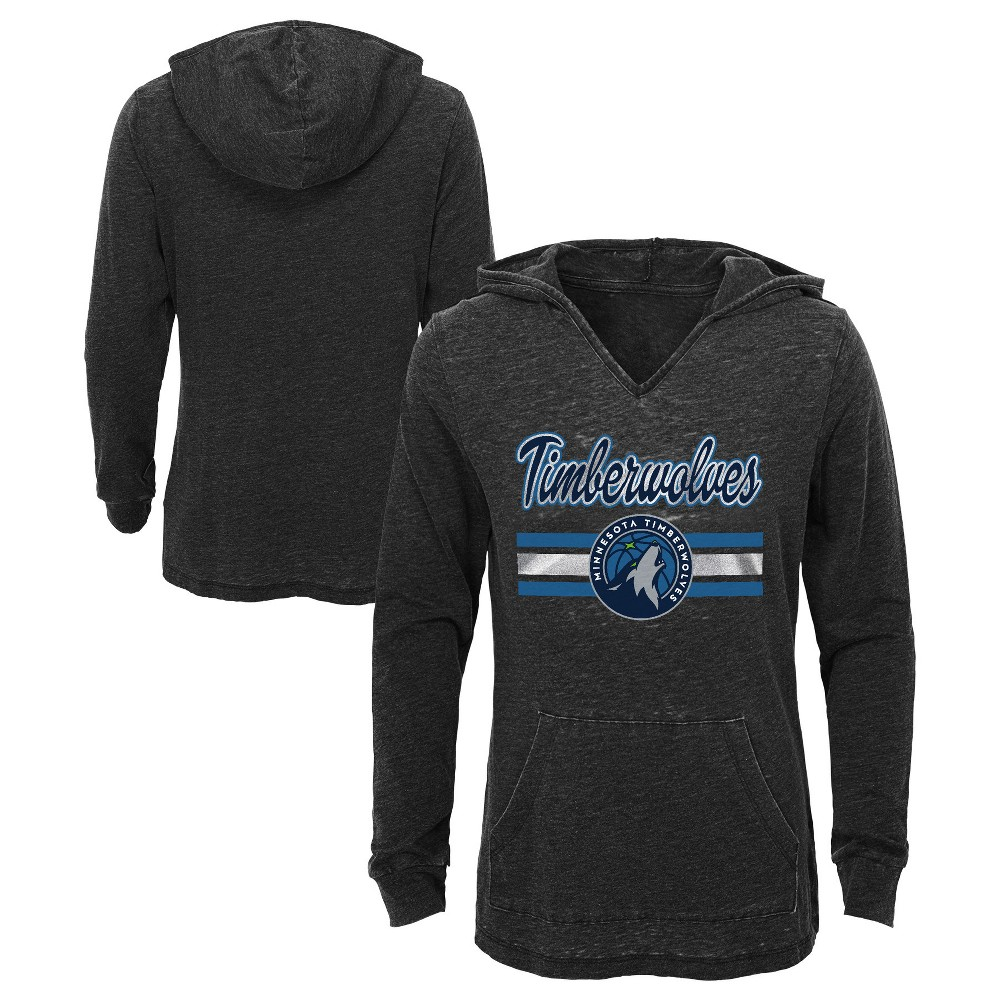 Minnesota Timberwolves Girls' Top of the Key Gray Burnout Hoodie M, Multicolored