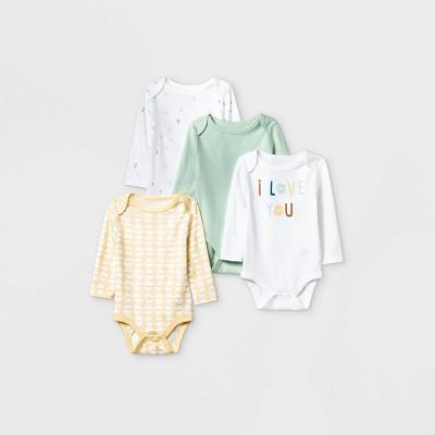 Baby Boys' 4pk Long Sleeve Bodysuit - Cloud Island™ Mint 0-3M