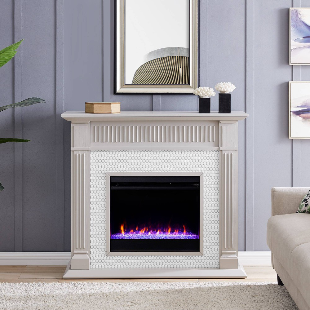 Image of Castwilke Penny Tiled Color Changing Fireplace Gray/White - Aiden Lane