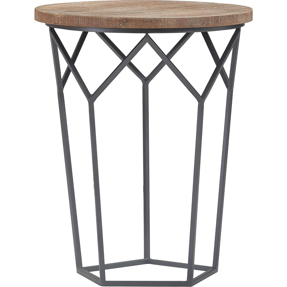 Image of Avion Round Geometric Accent Table Brown/Black - Finch, Brown Black