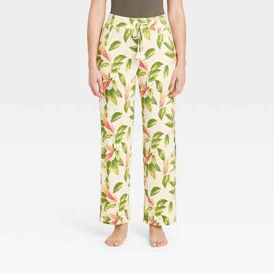 Women's Floral Print Beautifully Soft Pajama Pants - Stars Above™ Cream