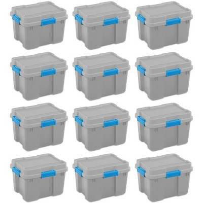 Sterilite 20 Gallon Heavy Duty Plastic Gasket Tote Stackable Storage Container Box with Lid and Latches for Home Organization, (12 Pack)