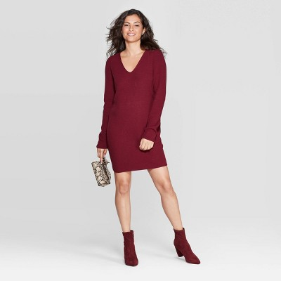 Women's V Neck Long Sleeve Mini Sweater Dress   A New Day by Neck Long Sleeve Mini Sweater Dress