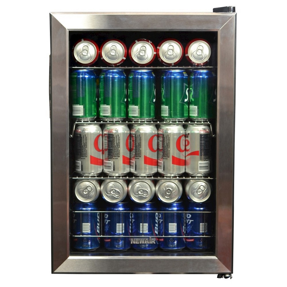 NewAir 84-Can Beverage Cooler - Stainless Steel AB-850, Black