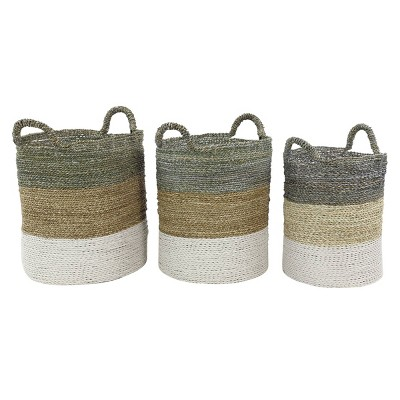 Olivia & May Set of 3 Large Round Blocked Seagrass Baskets Gray/Natural/White