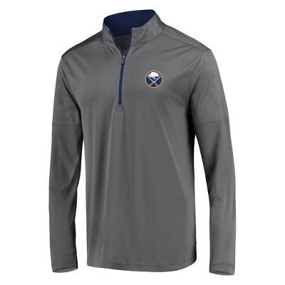 NHL Buffalo Sabres Men's Defender Embossed 1/4 Zip Sweatshirt - Gray S