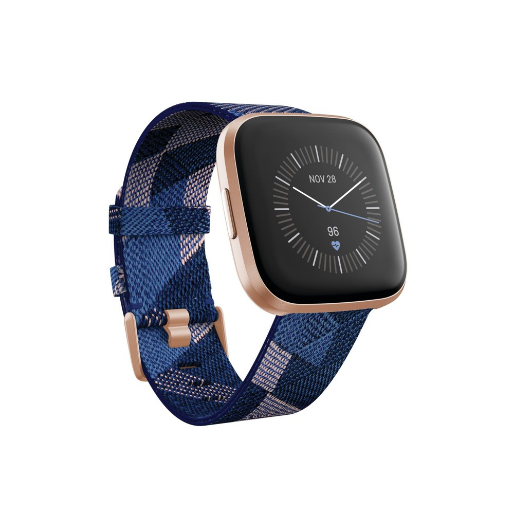 Fitbit Versa 2 Navy & Pink Fabric Strap Touchscreen Smart Watch 39mm - A Special Edition