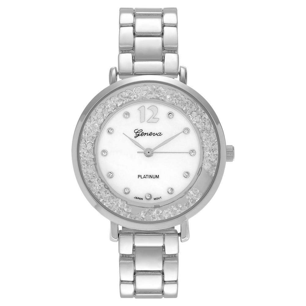 Women's Geneva Platinum Round Case Cubic Zirconia Bezel Link Bracelet Watch - Silver