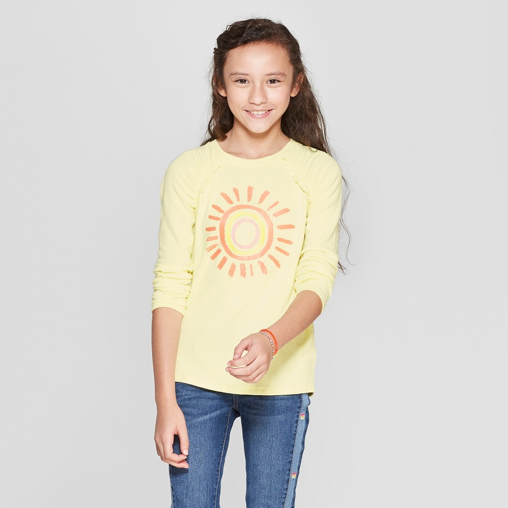 Girls' Long Sleeve Sunshine Cozy Pullover - Cat & Jack Yellow XL
