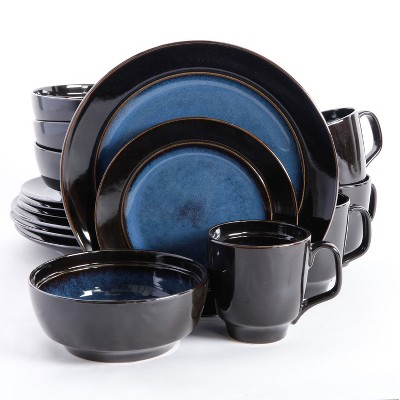 Gibson 92927.16RM Elite Bella Galleria 16 Piece Glazed Durable Dinnerware Set with Plates, Bowls, and Mugs, Microwave and Dishwasher Ready, Blue