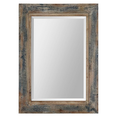 "30""x20"" Rectangle Bozeman Decorative Wall Mirror Distressed Blue - Uttermost"