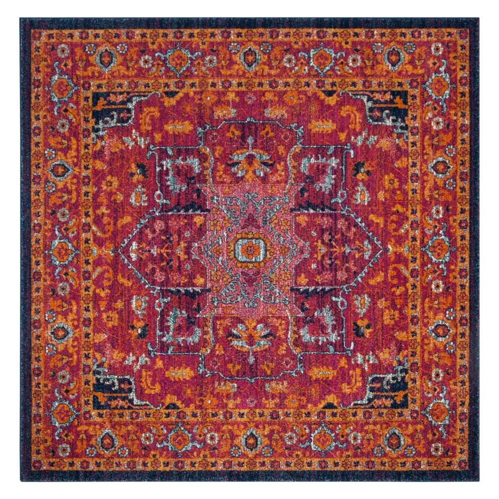 67x67 Medallion Square Area Rug Fuchsia/Orange - Safavieh Price