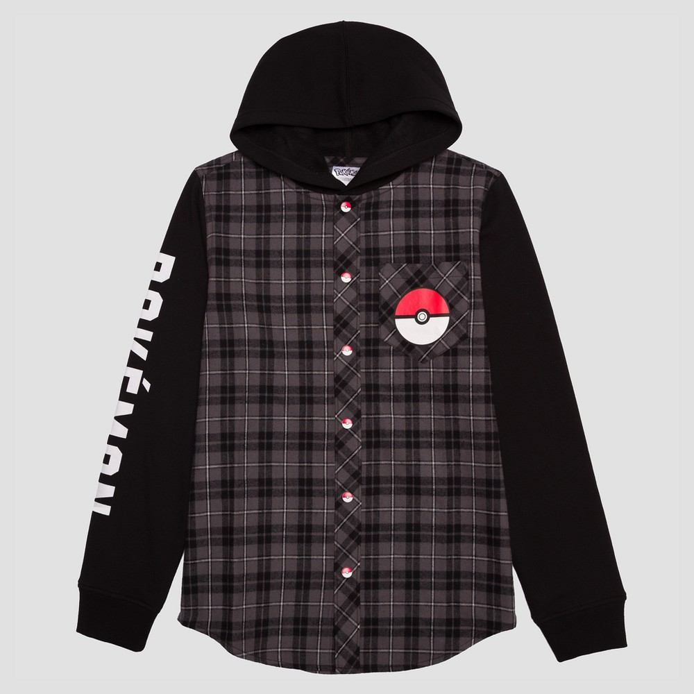 Boys' Long Sleeve Pokemon Button-Down T-Shirt - Black XS, Multicolored