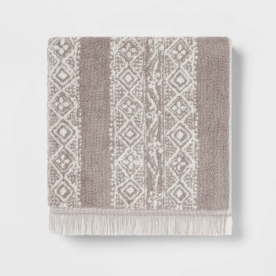 Stamped Geo Bath Towel Gray - Threshold™