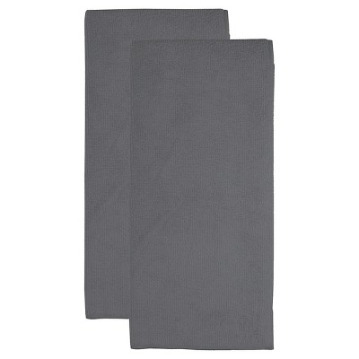 2pk Microfiber Kitchen Towels Dark Gray - MU Kitchen