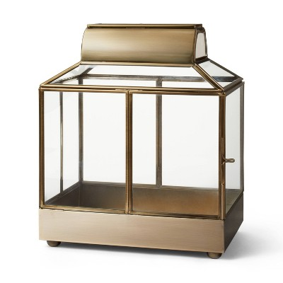 "10.6"" x 9"" Glass/Metal Aged House Terrarium Planter Gold - Hilton Carter for Target"
