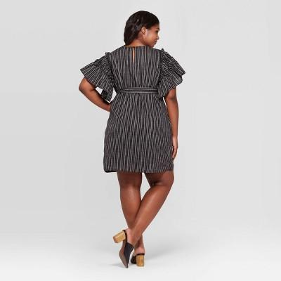 Black and White Plus Size Short Dress