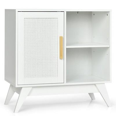 Costway Storage Cabinet Free Standing w/Adjustable Shelves Weaved Door White