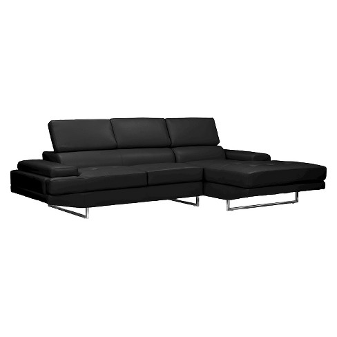 Adler Contemporary Bonded Leather Right Facing Sectional Sofa Black - Baxton Studio - image 1 of 5