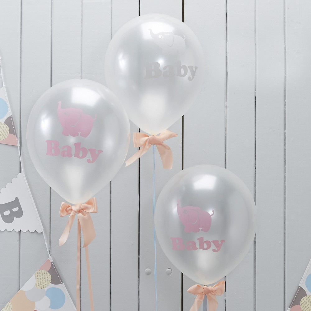 "Image of ""10ct """"Baby"""" Elephant Print Balloons Pink, Pink Clear"""