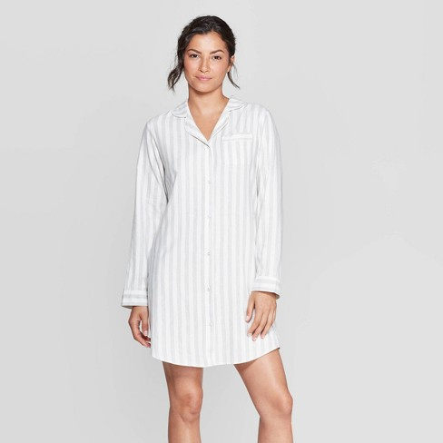 Women's Striped Perfectly Cozy Flannel Sleepshirt - Stars Above™ Heather Gray - image 1 of 2