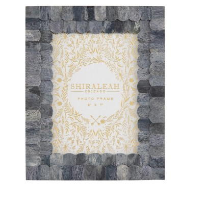 """Mansour Grey Scalloped """"5 X 7"""" Picture Frame - Shiraleah"""